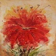 Tablou pictat manual Rosso, 60x60cm