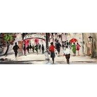 Tablou pictat manual Street Life, 50x150cm