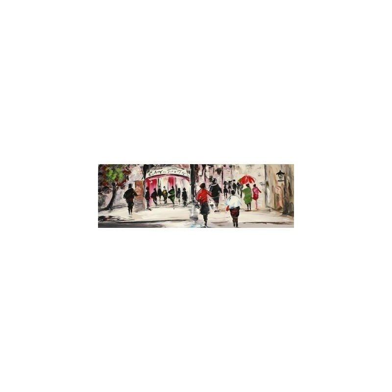 Tablou pictat manual Street Life, 50x150cm luxuriante.ro 2021