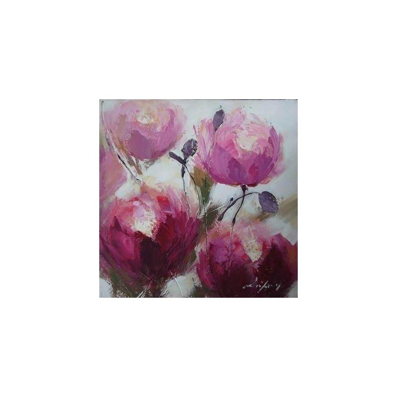 Tablou pictat manual Trandafiri, 60x60cm luxuriante.ro 2021