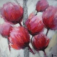 Tablou pictat manual Tulip roz B, 30x30cm