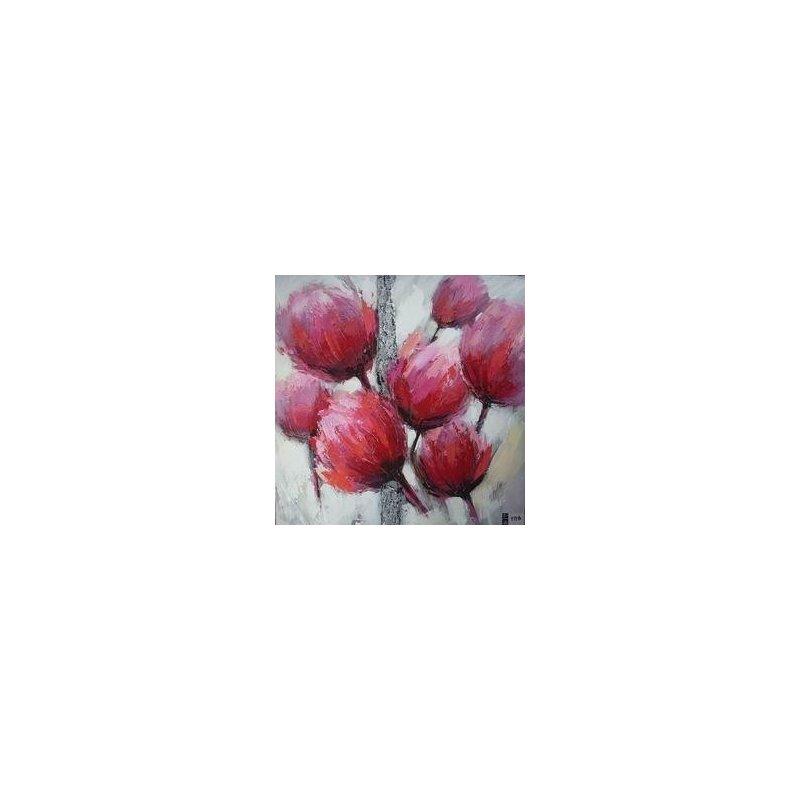 Tablou pictat manual Tulip roz B, 30x30cm luxuriante.ro 2021