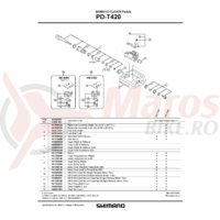 Ansamblu ax pedala Shimano PD-T420 Dreapta/B.C. 9/16