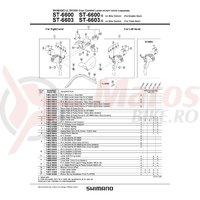 Ansamblu corp maneta Shimano ST-6600-G dreapta ice gray