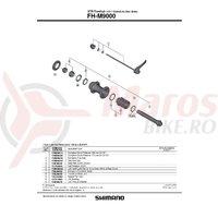 Ax pentru butuc spate Shimano FH-M9000 complet