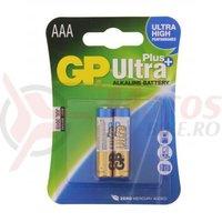 Baterie alcalina R3 AAA 2 bucati/blister Ultraplus GP