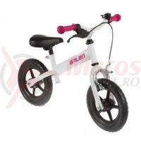Bicicleta copii fara pedale alb/roz