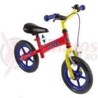 Bicicleta copii fara pedale rosie-albastru/galben