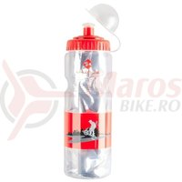 Bidonas Thermo M-Wave transparent/rosu 400ml
