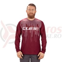 Bluza Cube Edge round-neck L/S bordeaux