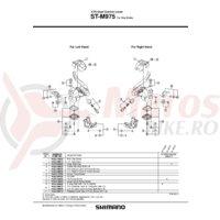 Capac inferior Shimano ST-M975 dreapta & suruburi