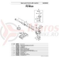 Capac pedale Shimano PD-M520 stanga + suruburi de fixare