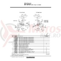 Capac Shimano ST-EF51-A-2A stanga argintiu & suruburi M3x5