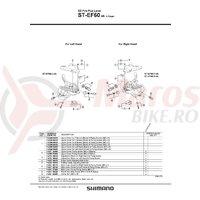 Capac superior Shimano ST-EF60 stanga argintiu & suruburi de fixare M3x5