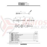 Caseta Shimano FH-M495 & garnitura pentru praf dreapta