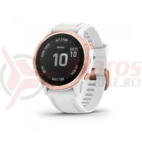Ceas Garmin Fenix 6S Pro rose gold white band