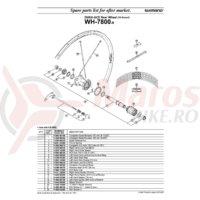 Con Shimano WH-7800-R Stanga + Garnitura pentru Praf/Garnitura