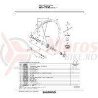 Con Shimano WH-7850 Stanga Lock Nut M10 + Con M12 + Garnitura pentru praf