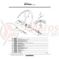 Con Shimano WH-R600-R Stanga M17x14.2mm + Garnitura pentru praf/capat etans