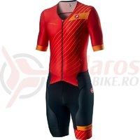 Costum Triatlon cu maneca scurta Castelli Free Sanremo SS Suit negru/rosu/portocaliu