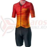Costum Triatlon cu maneca scurta Castelli PR Speed Suit negru/rosu/portocaliu