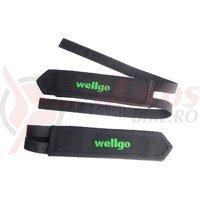 Curea pedale Wellgo negre logo verde