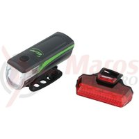 Far + stop CONTEC Speed Led USB - 20lux - negru/verde