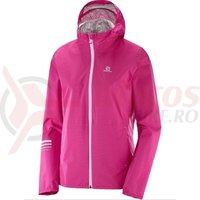 Geaca alergare Salomon Lightning Waterproof Jacket pink yarrow femei