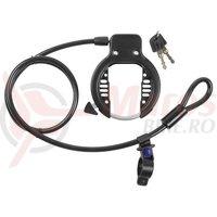 Incuietoare potcoava+cablu 10mm M-Wave Ringloop otel neagra