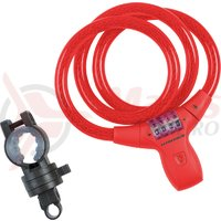 Lacat spiral cu cifru Kross KZS 550 cu LED 12 mm x 900 mm red