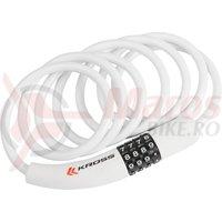 Lacat spiral cu cod Kross KZS 300 8 mm x1800 mm white