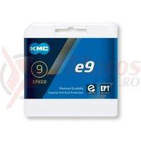 Lant KMC E9 9 speed e-bike 1/2x11/128 136 zale argintiu
