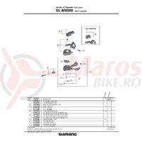 Masca si surub pentru capac maneta de schimbator dreapta Shimano SL-M8000