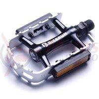 Pedala Bikefun mountainer-II MTB aluminiu argintiu-negru