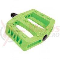 Pedale plastic MTB/Bmx Wellgo B107N-802C verde neon platforma cuie turnate
