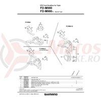 Placa butuc pedalier Shimano FD-M980-E