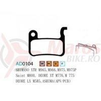 Placute frana Ashima AD0104, semi-metalice, compatibile Shimano XTR, Deore XT, Deore LX..