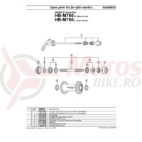 Quick release Shimano HB-M760-L 133mm 5-1/4
