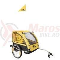 Remorca M-Wave pentru transport copii cu suspensie negru/galbena