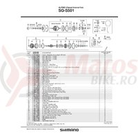 SG-S501 mecanism intern Shimano 187mm