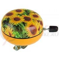 Sonerie M-Wave 'ding-dong' otel galbena cu model floare soarelui diametru 80mm