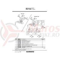 Suport pentru schimbator fata Brazed-Shimano SM-FD74 pentru FD-7400