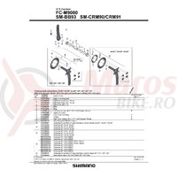 Suruburi angrenaj Shimano FC-M9000 componente & suruburi 8 buc. set pentru dublu 38-28T/36-26T/34-24T