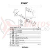 Suruburi de fixare Shimano FC-M980 double gear fixing bolt M8x10.1 4 buc.