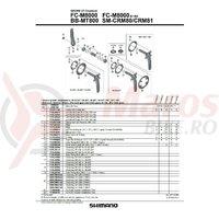 Suruburi Shimano FC-M8000 gear fixing bolt m8 x 11.4 4 buc.