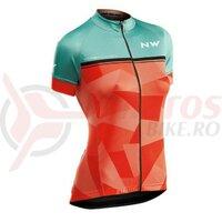 Tricou ciclism dame Northwave Origin WMN green forest/orange