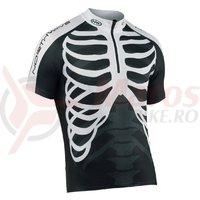 Tricou ciclism Northwave Skeleton scurt negru-alb