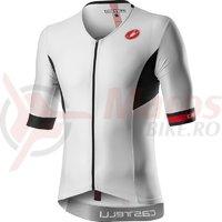 Tricou cu maneca scurta pentru triathlon Castelli Free Speed 2 Race alb/negru