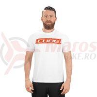 Tricou Cube T-Shirt logo alb/rosu