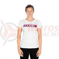 Tricou Cube WS T-Shirt Logo alb/rosu